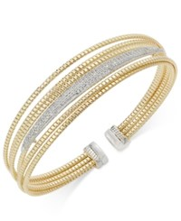 Macy's Diamond Multi Layer Two Tone Bracelet 1 2 Ct. T.W. In 14K Gold Plated Sterling Silver Gold Over Sterling Silver