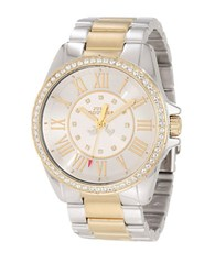 Juicy Couture Ladies Two Tone Bracelet Band And Crystal Bezel Watch