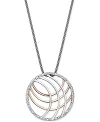 Macy's Diamond Round Cage Pendant Necklace 1 4 Ct. T.W. In Sterling Silver And Rose Gold Plate