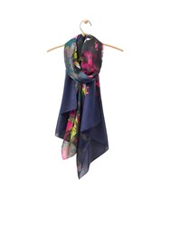 Joules Longline Printed Polyester Scarf Navy