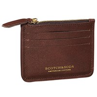 Scotch And Soda Leather Card Holder Brown