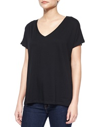 Majestic Paris For Neiman Marcus V Neck Cotton High Low Tee