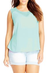Plus Size Women's City Chic 'Dark Lace' Sleeveless Top