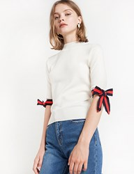 Pixie Market Muse Striped Bow Tie Knit Top
