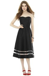 Women's Alfred Sung Illusion Stripe Strapless A Line Midi Dress Black