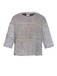 By Walid Vintage Embroidered Piano Shawl Cotton Jacket Light Grey