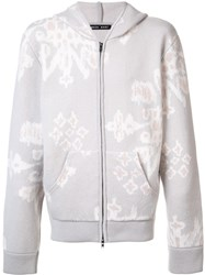 Baja East Abstract Print Zipped Hoodie Nude And Neutrals