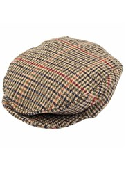 Dents Mens Dogtooth Flat Cap Olive