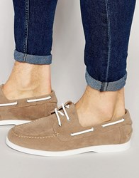 Asos Boat Shoes In Stone Faux Suede With White Sole Stone