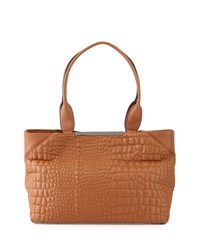 French Connection Monica Croc Embossed Tote Bag Nutmeg Brown
