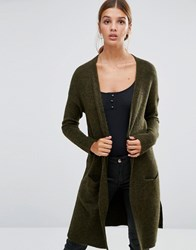 New Look Fine Knit Cardigan Khaki Green
