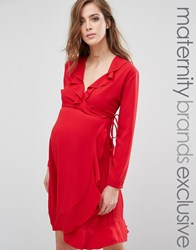 Queen Bee Long Sleeve Wrap Dress With Frill Detail Red