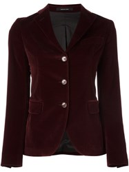 Tagliatore Velvet Fitted Jacket Red