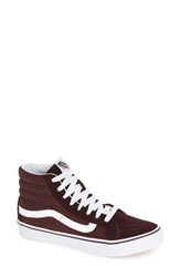 Vans Women's Sk8 Hi Slim High Top Sneaker Iron Brown True White Suede