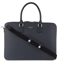 Aspinal Of London Mount Street Small Saffiano Leather Tech Bag Navy