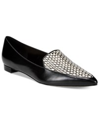 Nine West Abay Pointed Toe Flats Women's Shoes Black Leather White Black Snake