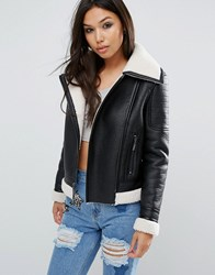 Glamorous Biker Jacket With Faux Shearling Lining Black