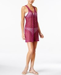 Miken Lace Up Crochet Cover Up Dress Women's Swimsuit Magenta