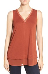 Trouve Women's V Neck Mixed Media Tank Brown Spice