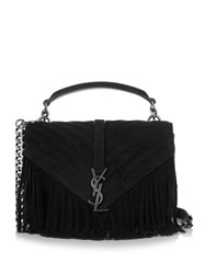 Saint Laurent Monogram Medium Fringed Suede Cross Body Bag Black