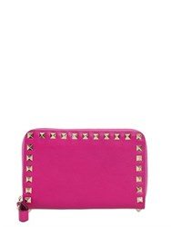 Valentino Rockstud Leather Zip Around Wallet