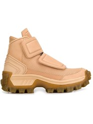 Juun.J Cleated Sole Velcro Hi Top Sneakers Nude Neutrals