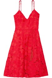 Badgley Mischka Belted Guipure Lace Dress Crimson