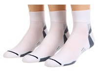 Wrightsock Velocity Qtr 3 Pair Pack White Grey Quarter Length Socks Shoes