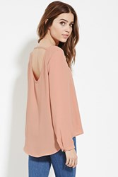 Forever 21 Scoop Back Blouse Peach