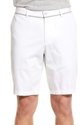 Men's Boss 'Clyde' Flat Front Stretch Cotton Shorts White