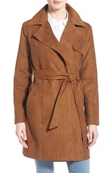 Women's Ellen Tracy Faux Suede Belted Long Wrap Coat Cigar