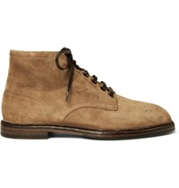 Dolce And Gabbana Brogue Detailed Suede Boots Brown