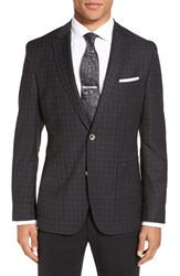 Boss Men's 'Janson' Trim Fit Plaid Wool Sport Coat Charcoal