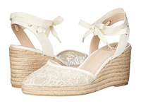Adrianna Papell Penny Ivory 1890 Lace Women's Wedge Shoes White