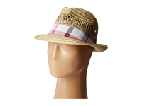 Columbia Sun Drifter Straw Hat Natural Eclipse Blue Plaid Traditional Hats Neutral