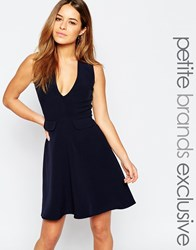 Alter Petite Plunge Pinafore Skater With Pocket Detail Navy