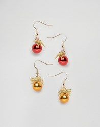 Asos Christmas Pack Of 2 Bauble Earrings Multi