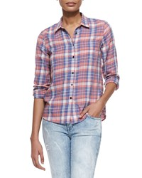 Current Elliott The Slim Plaid Boy Shirt Star Dust Plaid