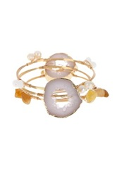 Bansri Olivia Agate Druzy Bangle Set Multi