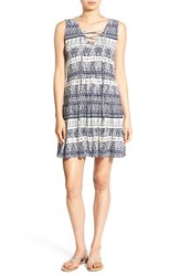 As U Wish Women's Print Lace Up Shift Dress Cream Navy