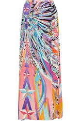 Emilio Pucci Printed Silk Chiffon Maxi Skirt Purple