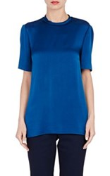 Lanvin Women's Short Sleeve Blouse Blue