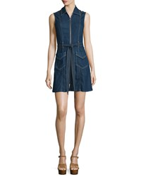 7 For All Mankind Sleeveless Zip Front Denim Shirtdress Saint Tropez Night