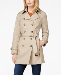 Jones New York Petite Water Resistant Trench Coat Beach Tan