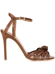 Scanlan Theodore Front Knot Stiletto Sandals Brown