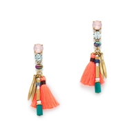 J.Crew Neon Tassel Earrings Bright Scarlet