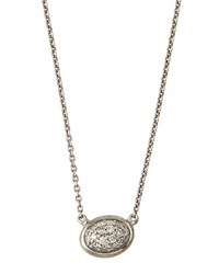 Jude Frances Silver Pave Diamond Oval Pendant Necklace Women's