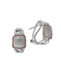 Effy 0.24 K Diamond Sterling Silver And 14K Rose Gold Omega Hoops 0.67 In.