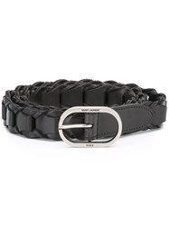 Saint Laurent Braided Oval Buckle Belt Black