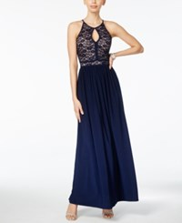 Nightway Keyhole Lace Halter Gown Navy Nude